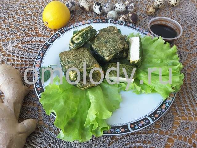 Тофу в кляре из крапивы