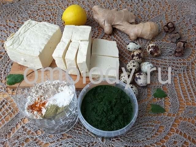 Тофу в зеленом крапивном кляре
