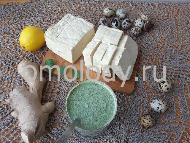 Тофу в зеленом кляре