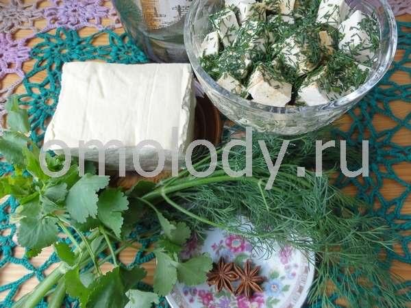 Тофу с укропом и лимонным соком