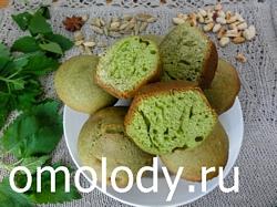 Кексы маффины с крапивой и кардамоном. Зеленая выпечка